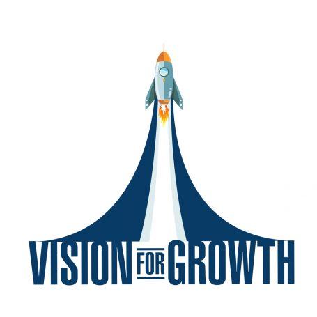 Vision for growth rocket smoke message illustration isolated over a white background